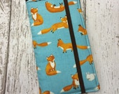 Samsung Galaxy Note, Note 2, Note 3, Note 4, iPhone 6 Plus wallet with removable gel case - fox print