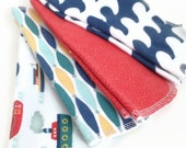 cloth wipes - set of 8, baby wipes, washcloths, nautical themed baby wipes, sailboat washcloths, little boy wipes, clothwipes for boys