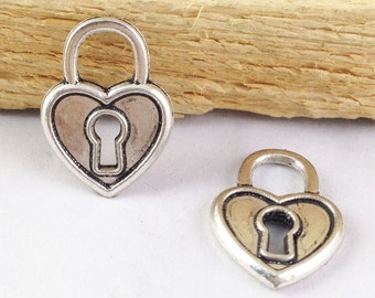 Heart Charms -20pcs Antique Silver Lock with Key Hole Charm Pendants 14x19mm AB306-1