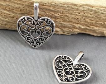 Silver Jewelry -30pcs Antique Silver Filigree Heart Charm Pendants 15mm AB307-1