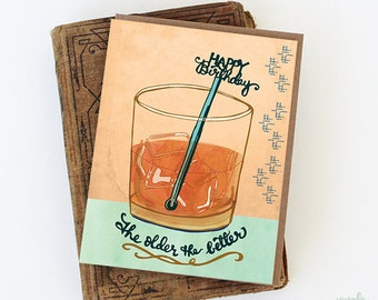 Whiskey Birthday Card - whisky birthday card, happy birthday drink card