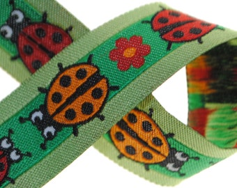 Red Ladybugs on Green Trim 5/8 inch wide