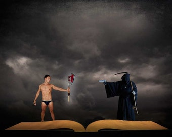Hero vs Death Gay Art Male Art Digital Download JPG Photo by Michael Taggart Photography shirtless warrior grim reaper battle face off fight