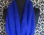 Infinity Scarf Electric Blue Cowl Cobalt Blue Hand Knit Cowl