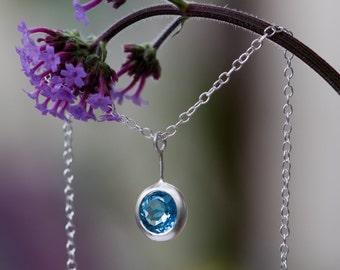 Blue Topaz Necklace - Blue Topaz Pendant - Swiss Blue Topaz Silver Necklace - Blue Topaz Pendant  in Sterling Silver - Free Shipping