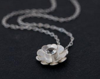 White Topaz Flower Necklace - White Topaz Pendant Necklace - Silver Pendant  - Daisy Necklace - Bridal Wear - Made to Order - FREE SHIPPING