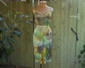 Eco/ Upcycled/ Vintage Slip/ Plus Size/ Sexy/ Fairy/ Mermaid/ Surfer Girl/ Boudoir/ Hippie/ Boho/ French Boudoir/ Tie Dye Slip Dress
