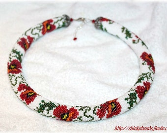 Poppies - bead crochet rope necklace white and red seed bead handmade uniqe gift