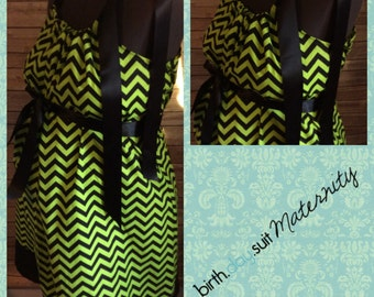 Maternity Hospital Gown: green and black chevron