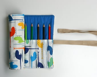 Pencil Roll Boys Helicopter Pencil Roll Includes 12 Quality Color Pencils + one HB Graphite Pencil