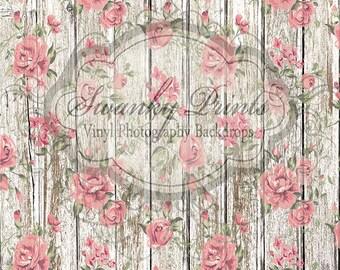 NEW DESIGN 5ft x 5ft Vinyl Photography Backdrop / Wedding Rose / Wood Floor