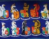 Vintage Ulster Linen Tea Towel Fab Heraldic Coats of Arms Queens Beasts Design Heraldic Lion & Griffin