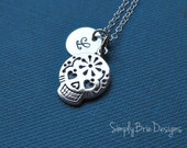 Sugar skull necklace, STERLING SILVER, initial stamped charm, personalized jewelry, bridesmaid gift, simple charm necklace, stamped jewelry