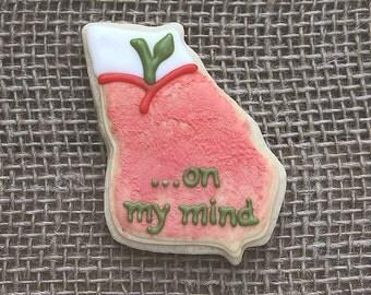 Georgia on My Mind Cookies / Georgia Peach Favors / Peach Favors / Georgia Favors / Wedding Favors / Georgia Sugar Cookies - 12 cookies