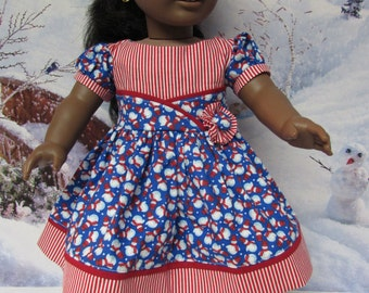 1950's Style Snowman Dress for American Girl with Shoes and Tights
