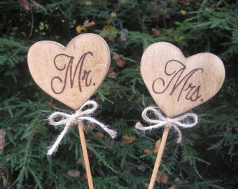 Wedding Cake Topper, Rustic Cake Topper, Wood Cake Topper, Heart Cake Topper, Mr and Mrs Topper,  Rustic Wedding, Your Divine Affair