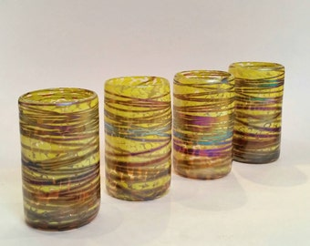Iridescent Bright Yellow Hand Blown Glass Tumbler Set