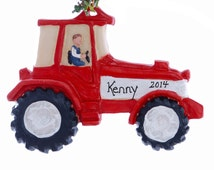 Personalized Tractor Christmas ornament - Red and White tractor ornament can be personalized free with your choice of names  made in the USA