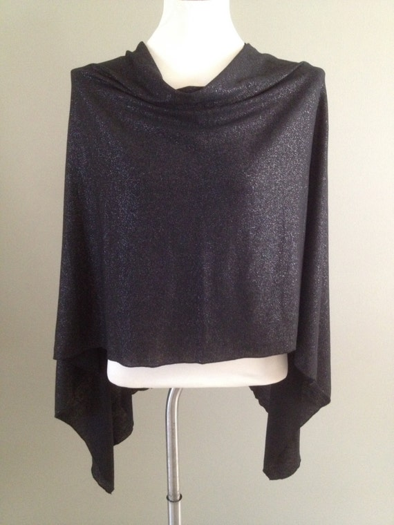 Sweater Knit Shimmering Black Poncho