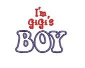 GiGi's Boy Embroidery Design, Applique Font, (539) Instant Download