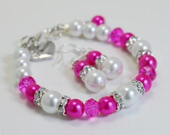 Hot Pink Pearl Bracelet and Earrings set, Hot Pink and White Jewelry, Bridal Jewelry, Bridal Pearl Jewelry, Hot Pink and White Wedding Combo