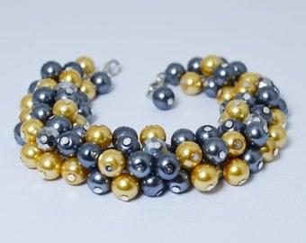 Pearl Bracelet. Pewter and Yellow cluster bracelet, grey bridal jewelry, gray chunky bracelet, wedding bracelet, pearl cluster bracelet