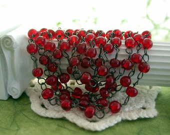 4.5 Feet Rosary Chain, Beaded Chain, Ruby Red Rosary Chain, Red Black Bead Chain, Chain, Bead Chain, Jewelry Chain, Glass Bead Chain CHN-123
