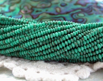 Natural Turquoise Beads, TINY Hand Cut Turquoise Beads, Turquoise Rondelles Bicone Beads, Semi Precious Beads, Gemstone Beads  SP-233