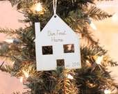Our First Home personalized wood Christmas ornament