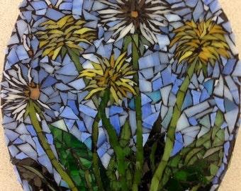 Beautiful Oval Dandelion Glass Mosaic