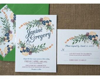 Vintage Boho Wreath Wedding - Flower Wreath Invitation  - Earth Tone Colors - Garden Barn Wedding Invite - Romantic Flowers Calligraphy Font