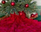 """Red Ruffled Christmas Tree Skirt, Red Linen Tree Skirt, Sewn Cotton Tree Skirt, Rustic Christmas - 48 Inch, 48"""""""