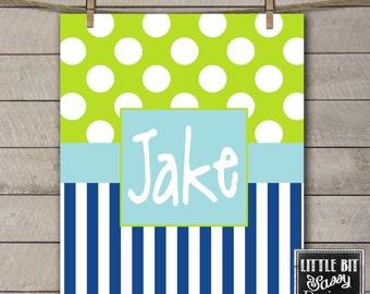 Personalized Baby Blanket Monogrammed Custom Blanket Baby Shower Gift Navy Blue Green Stripes