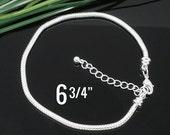 "2 Silver Snake Chain Bracelets - 6 3/4"" - (17cm)  2 - Ends Screw Off - Ships IMMEDIATELY from California - CH400"