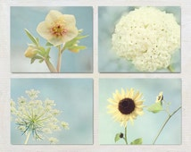 Flower Photograph Set, Yellow and Blue Wall Art Set, 4 Print Set, Set of Four Nature Photos, French Country Wall Decor, Floral Artwork