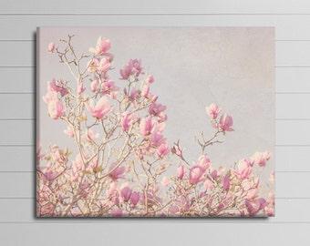 Pink Flower Canvas, Magnolia Wall Art, Floral Tree Photography Canvas, Magnolia Canvas Art, Spring Home Decor, Livingroom Artwork