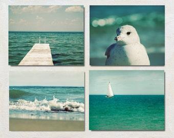 Mint Photography Set, Four Art Print Set, Lake House Decor, Green Wall Art Set, Lake Picture Set, Ocean Artwork Set of 4 Prints