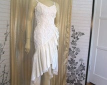 Vintage 80s Steampunk Ivory Embellished Lace Ribbon Sequin Wedding Dress / SALOON Style Ruffle Sweetheart Flounce Gown size 2