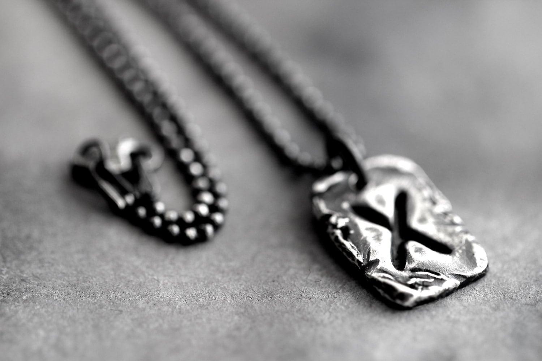 rune charm necklace elder futhark gebo eco by dezinestudio