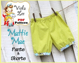 Mattie Mae... Girl's Pants Pattern. Girl's Shorts Pattern. PDF Pants Sewing Pattern. Toddler Pants Pattern. Infant Shorts Sewing Pattern