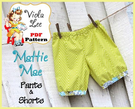 Mattie Mae... Girl's Pants Pattern. Girl's Shorts Pattern. PDF Pants Sewing Pattern. Toddler Pants Pattern. Infant Shorts Sewing Pattern