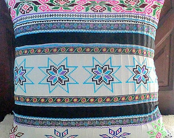 """20"""" White Vintage Embroidery Cross Stitch Hmong Pillow Cushion Covers, Free Worldwide Shipping"""