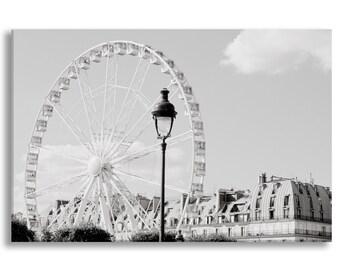 Paris Photograph on Canvas - Ferris Wheel, Roue de Paris, Gallery Wrapped Canvas, Paris Urban Decor, Large Wall Art