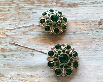 Emerald Green Rhinestone Wedding Hair Pins, Wedding Hair Clip, Set of Two Bridal Hair Pins, Bridesmaids Hair Pins, Rhinestone Bobby Pin