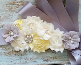 Yellow and Grey Bridal Sash, Flower Girl Sash, Maternity Sash, Bridesmaid Sash, Custom Sash, Satin Sash, Sash Belt, Bridal Accessories