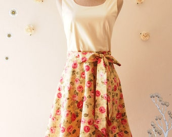 SALE My Woodland -Yellow-Brown Dreamy Rose Dancing Vintage Floral Dress Floral Summer Dress Floral Tea Dress Swing Bridesmaid Dress -Size S