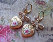 Sweet Rhinestone Bow and Matte Gold Heart with Guilloche Enameled Heart Centerpiece Dangles