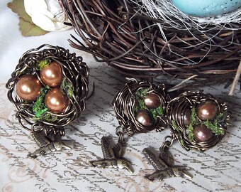 Birds Nest Ring & Post Earring Set with Pearls and Birds