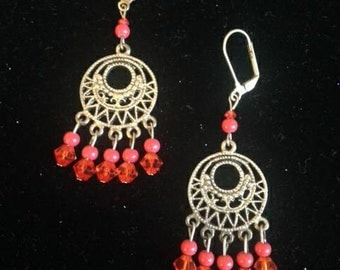 Coral & Silver Chandelier Earrings