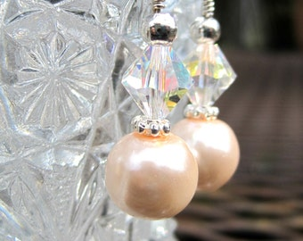 Swarovski and Pearl Earrings - Blush Pink